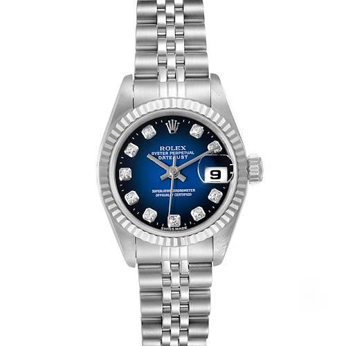 Photo of Rolex Datejust Steel White Gold Blue Vignette Diamond Ladies Watch 69174