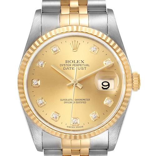Photo of Rolex Datejust Steel Yellow Gold Champagne Diamond Dial Watch 16233 Box Papers