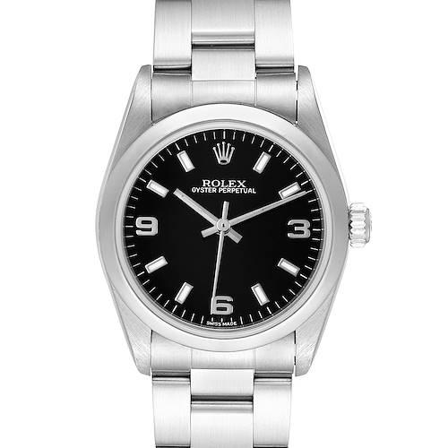Photo of Rolex Midsize 31 Black Dial Domed Bezel Steel Ladies Watch 77080