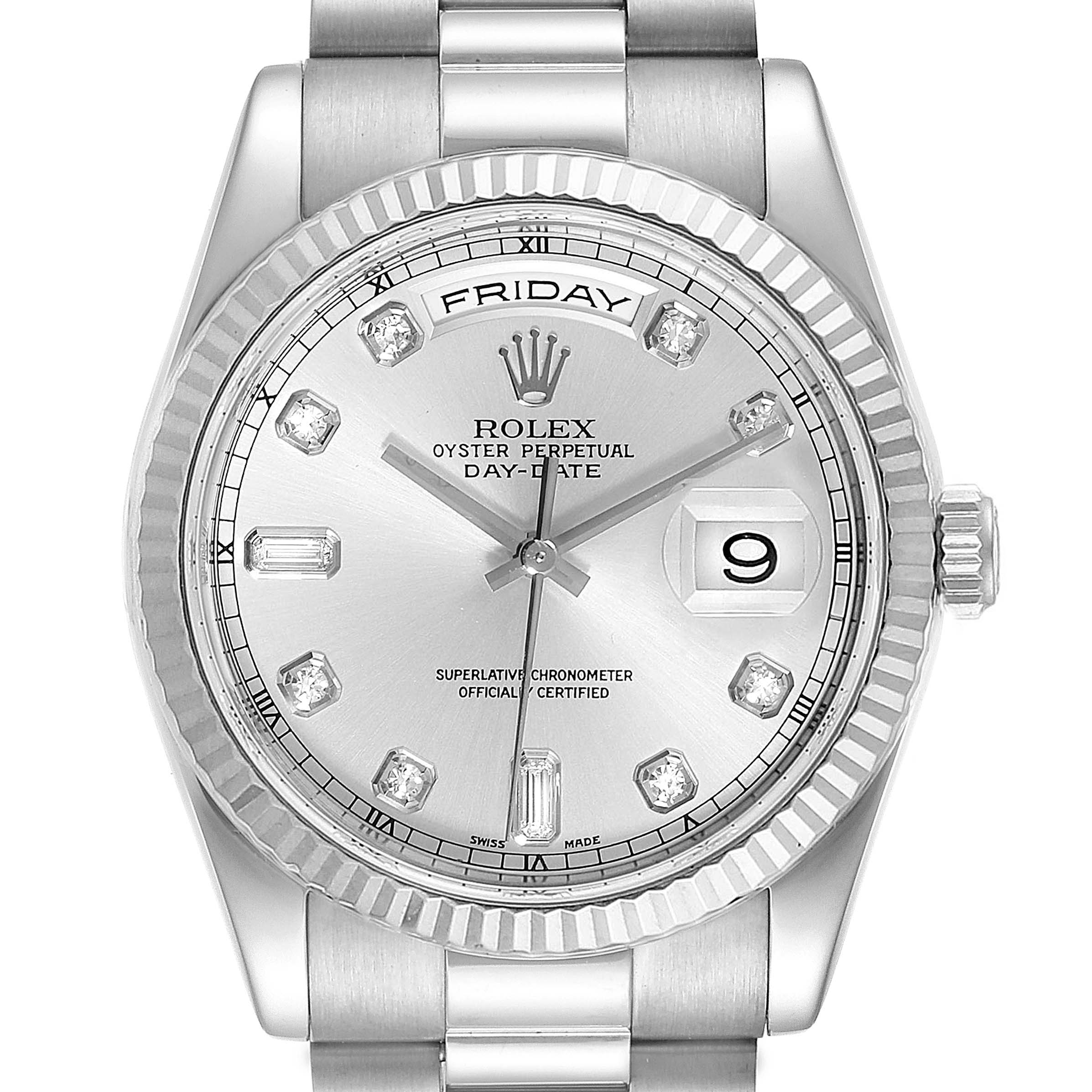 Photo of Rolex President Day-Date White Gold Diamond Mens Watch 118239 Box Papers