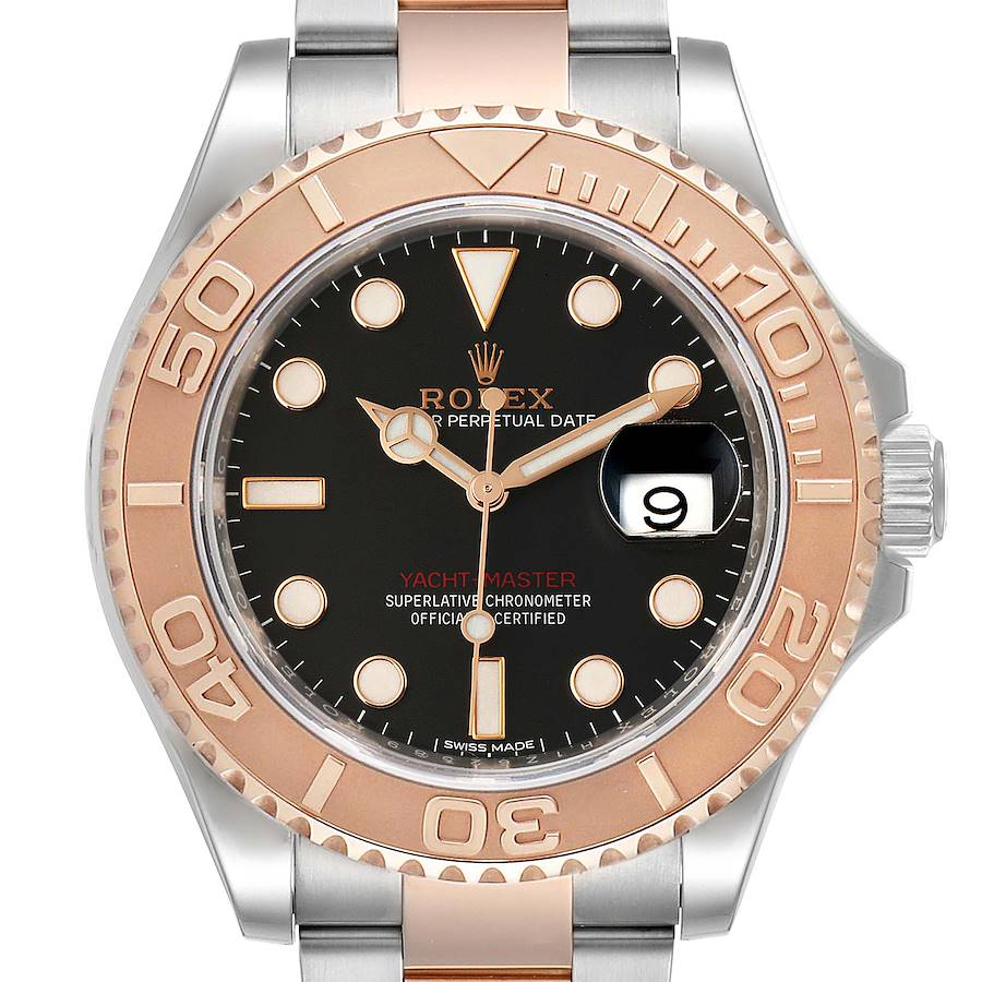 Rolex Yachtmaster 40 Everose Gold Steel Black Dial Mens Watch 116621 SwissWatchExpo