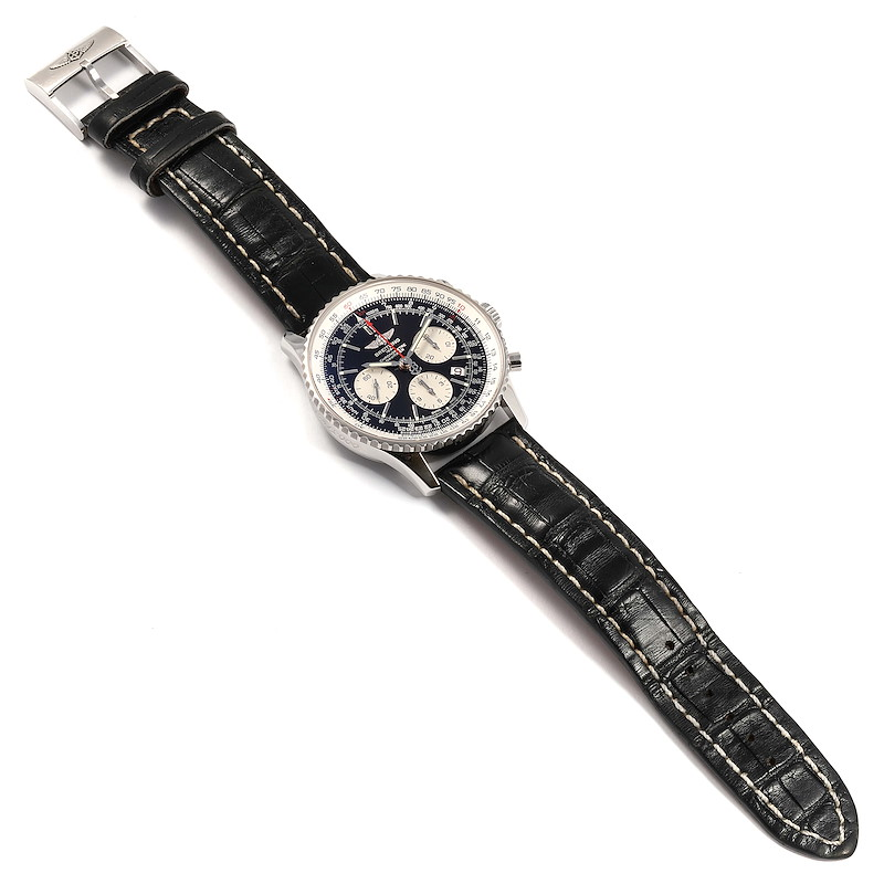 Breitling Navitimer 01 Black Dial Steel Mens Watch AB0121 Box Papers SwissWatchExpo