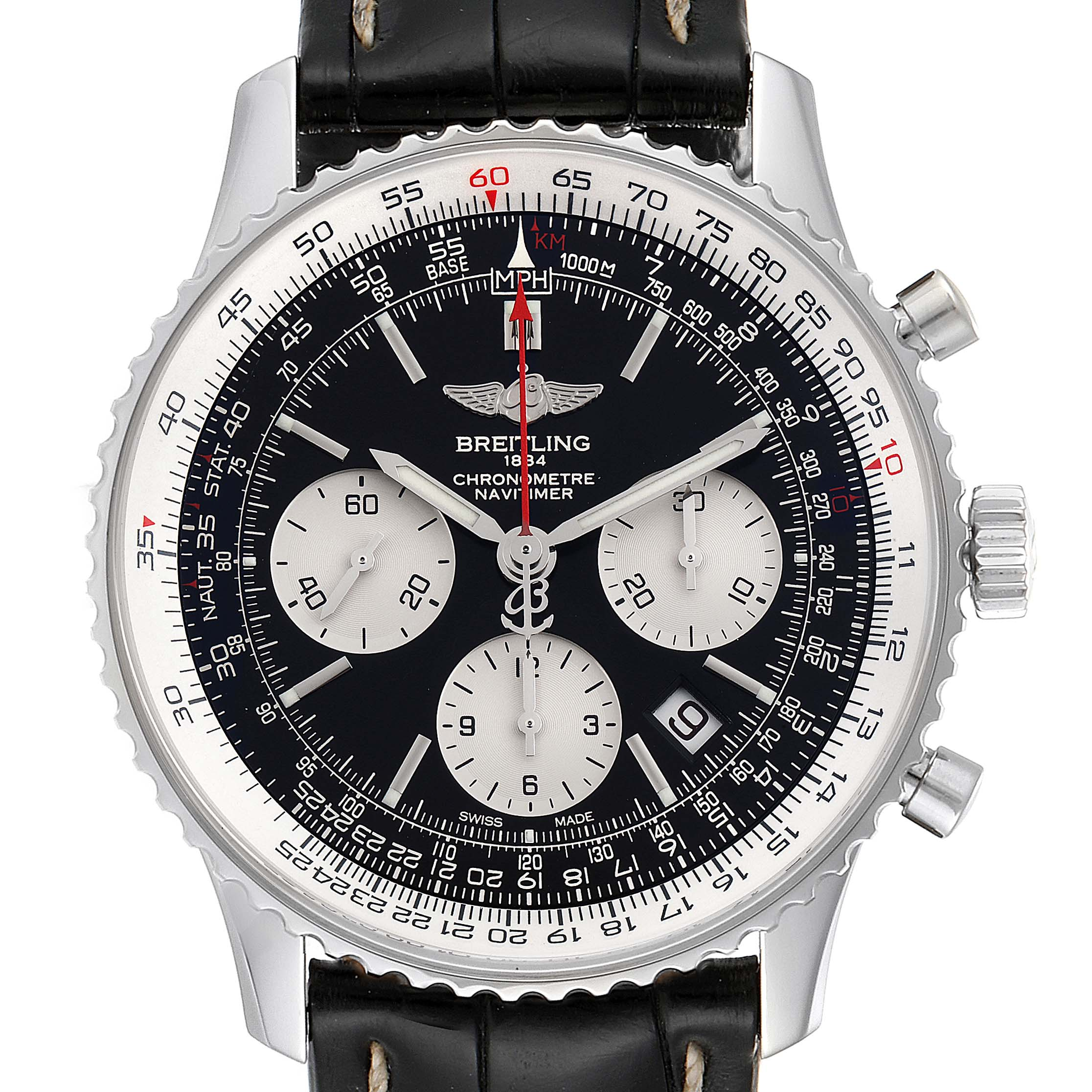 Photo of Breitling Navitimer 01 Black Dial Steel Mens Watch AB0121 Box Papers