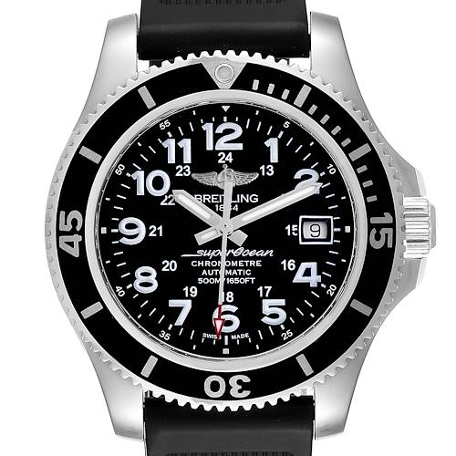 Photo of Breitling Superocean II Black Dial Steel Mens Watch A17365 Box Card