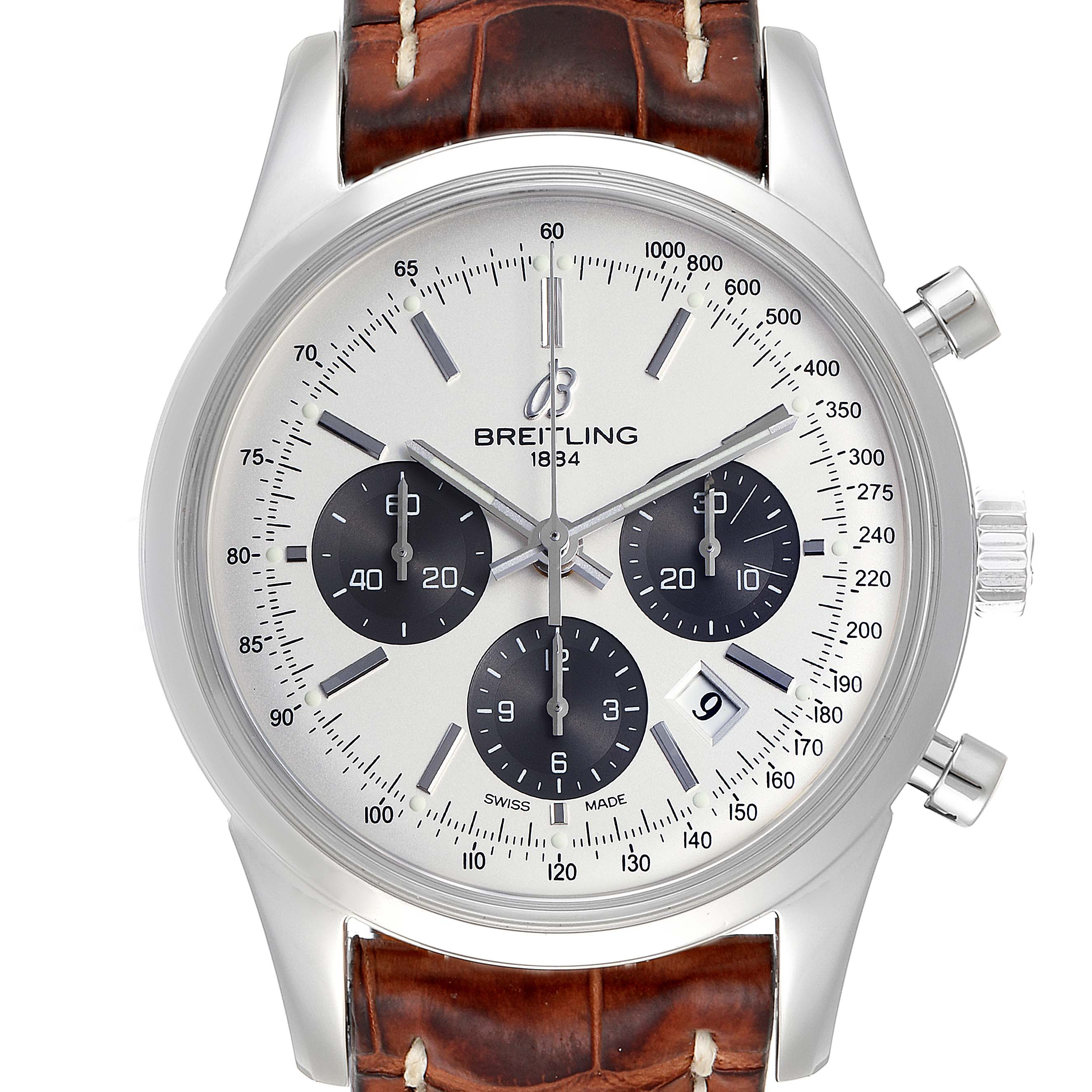 Photo of Breitling Transocean Panda Dial Chronograph Steel Mens Watch AB0152