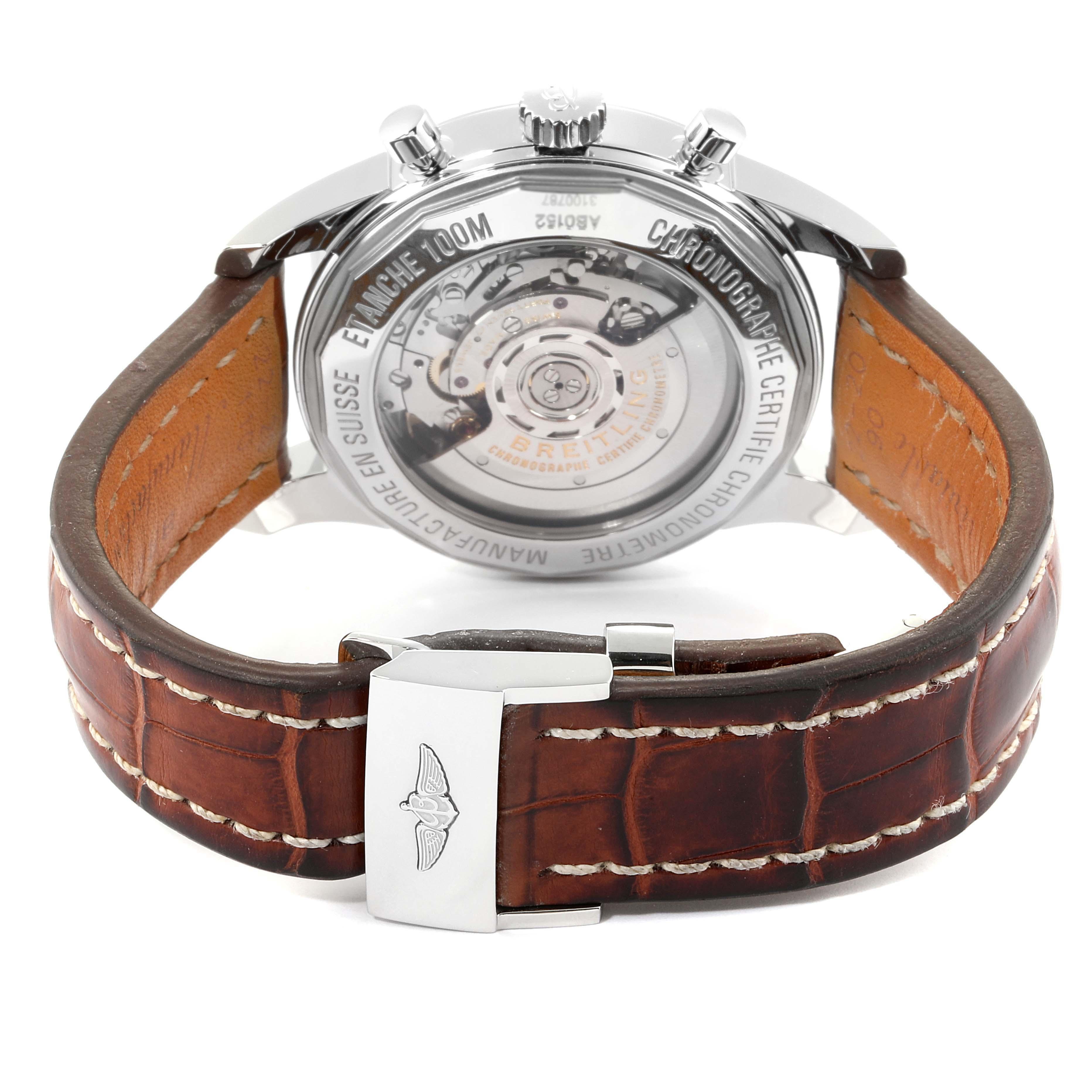 Breitling Transocean Panda Dial Chronograph Steel Mens Watch AB0152 SwissWatchExpo