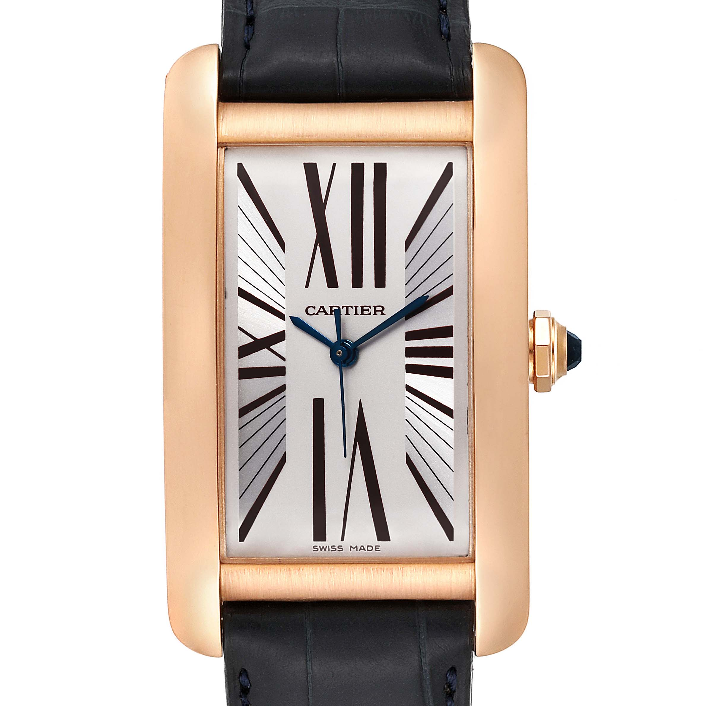 Photo of Cartier Tank Americaine Silver Dial Rose Gold Automatic Mens Watch 2505