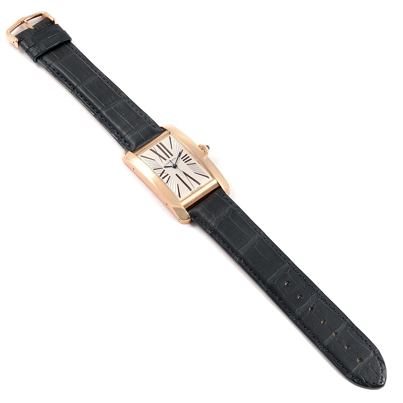 Cartier Tank Americaine Silver Dial Rose Gold Automatic Mens Watch 2505 SwissWatchExpo
