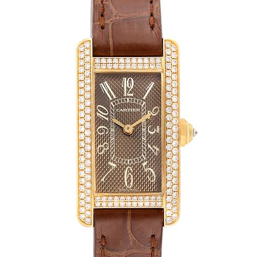 Photo of Cartier Tank Americaine Yellow Gold Diamond Ladies Watch 2482