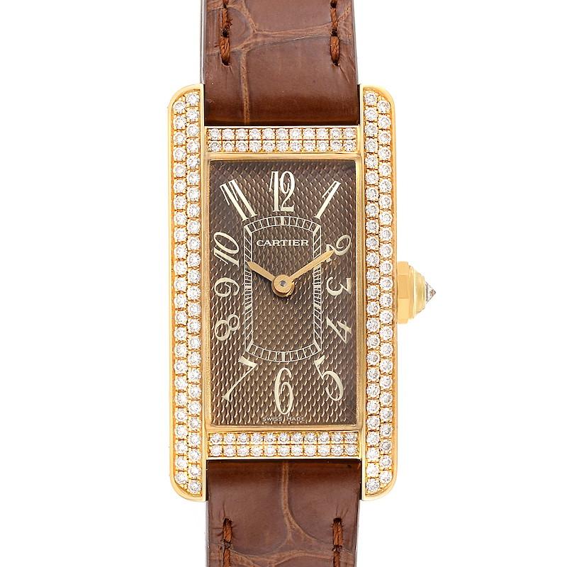 Cartier Tank Americaine Yellow Gold Diamond Ladies Watch 2482 SwissWatchExpo