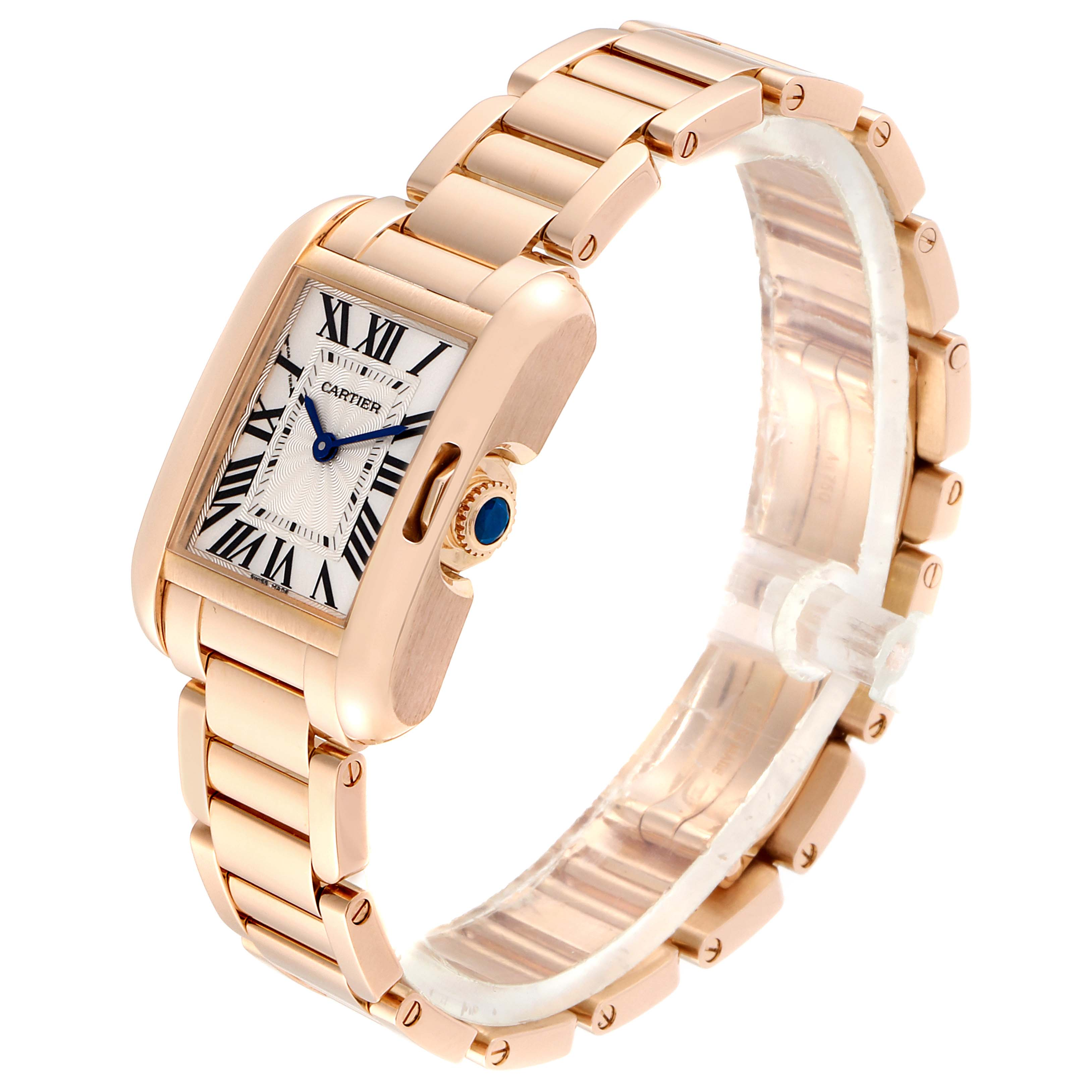 Cartier Tank Anglaise Small Silver Dial Rose Gold Ladies Watch W5310013 SwissWatchExpo