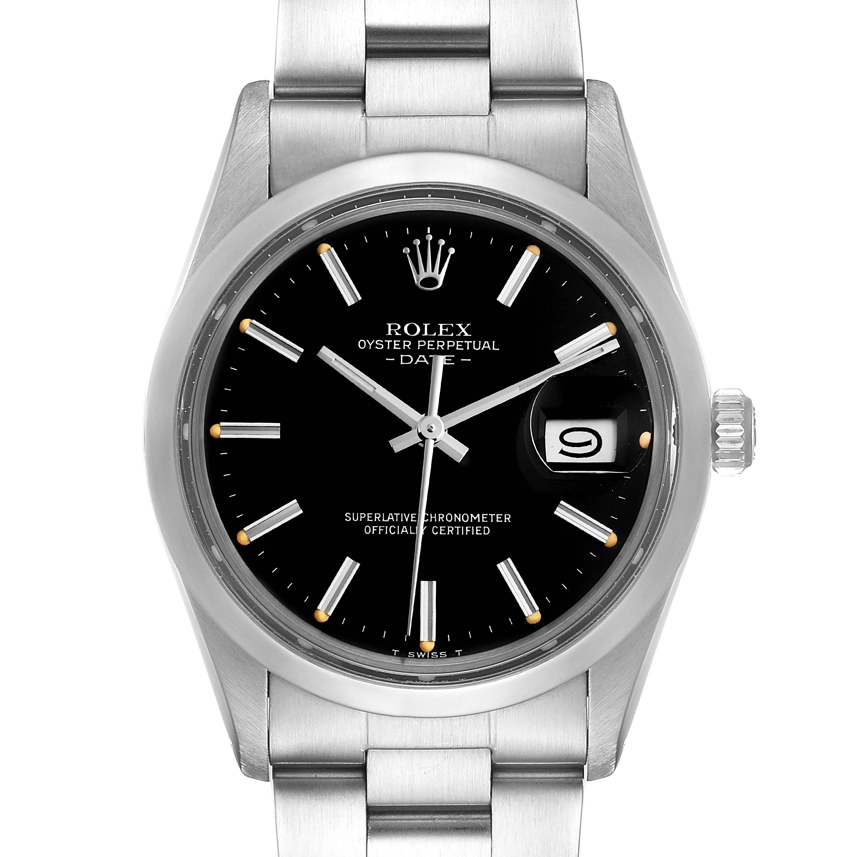 Photo of Rolex Date Black Dial Vintage Steel Mens Watch 15000