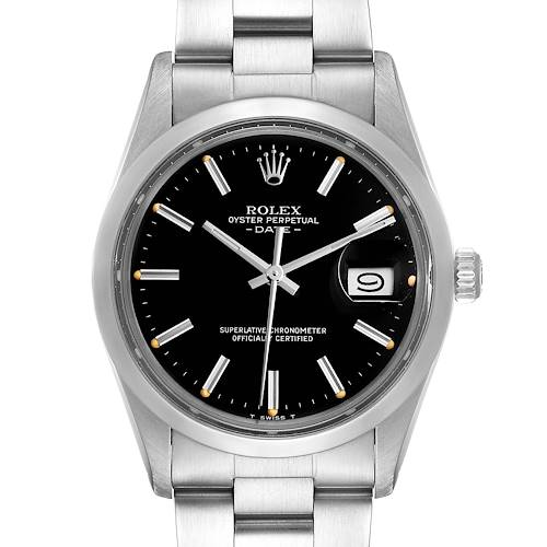 Photo of Rolex Date Black Dial Vintage Steel Mens Watch 15000