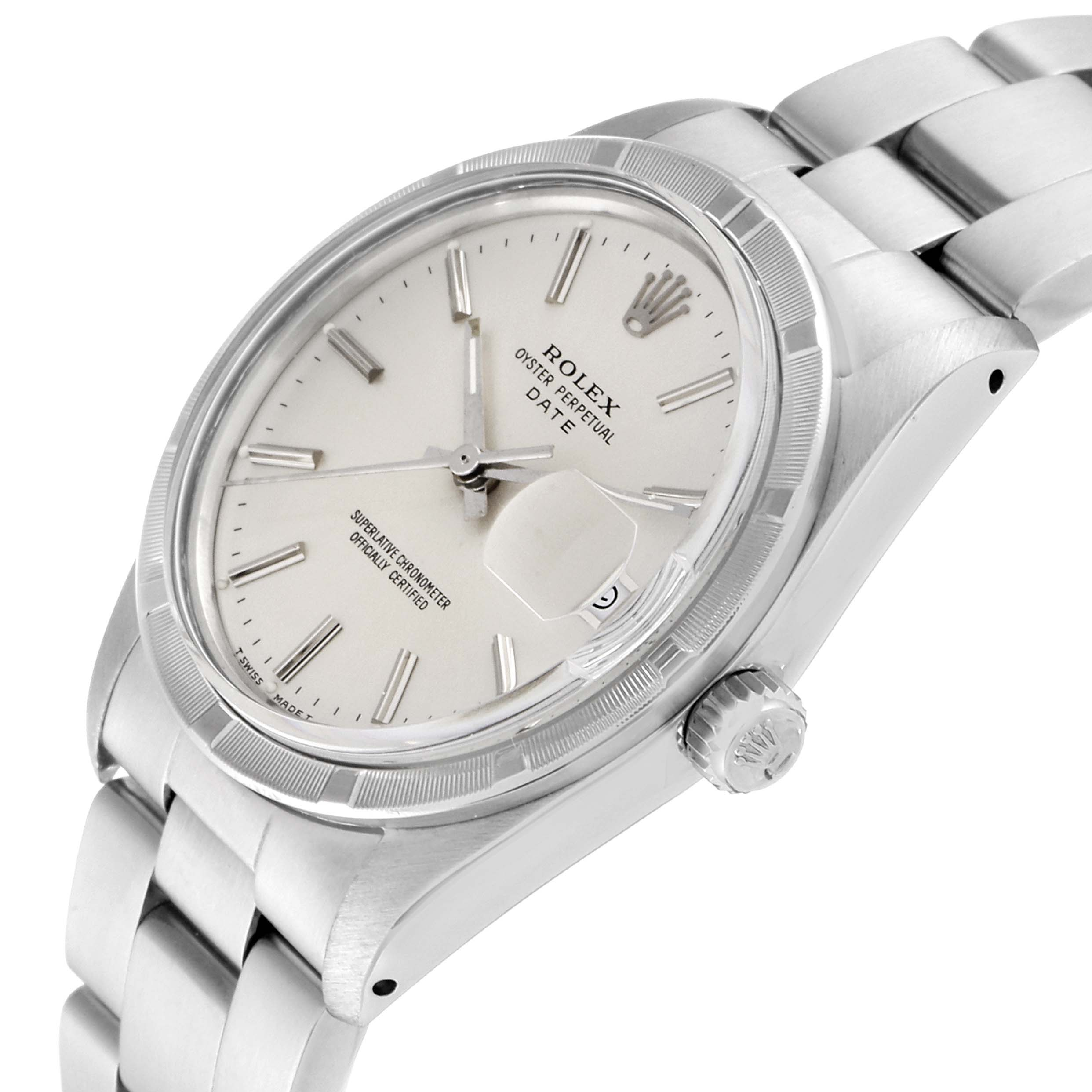 Rolex Date Stainless Steel Silver Dial Vintage Mens Watch 15010 SwissWatchExpo