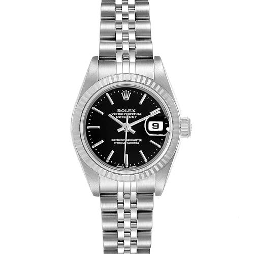 Photo of Rolex Datejust 26 Steel White Gold Black Dial Ladies Watch 79174