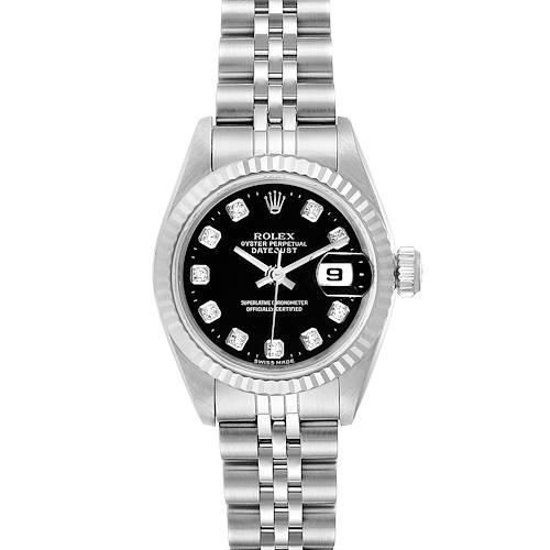Photo of Rolex Datejust Steel White Gold Black Diamond Dial Ladies Watch 69174
