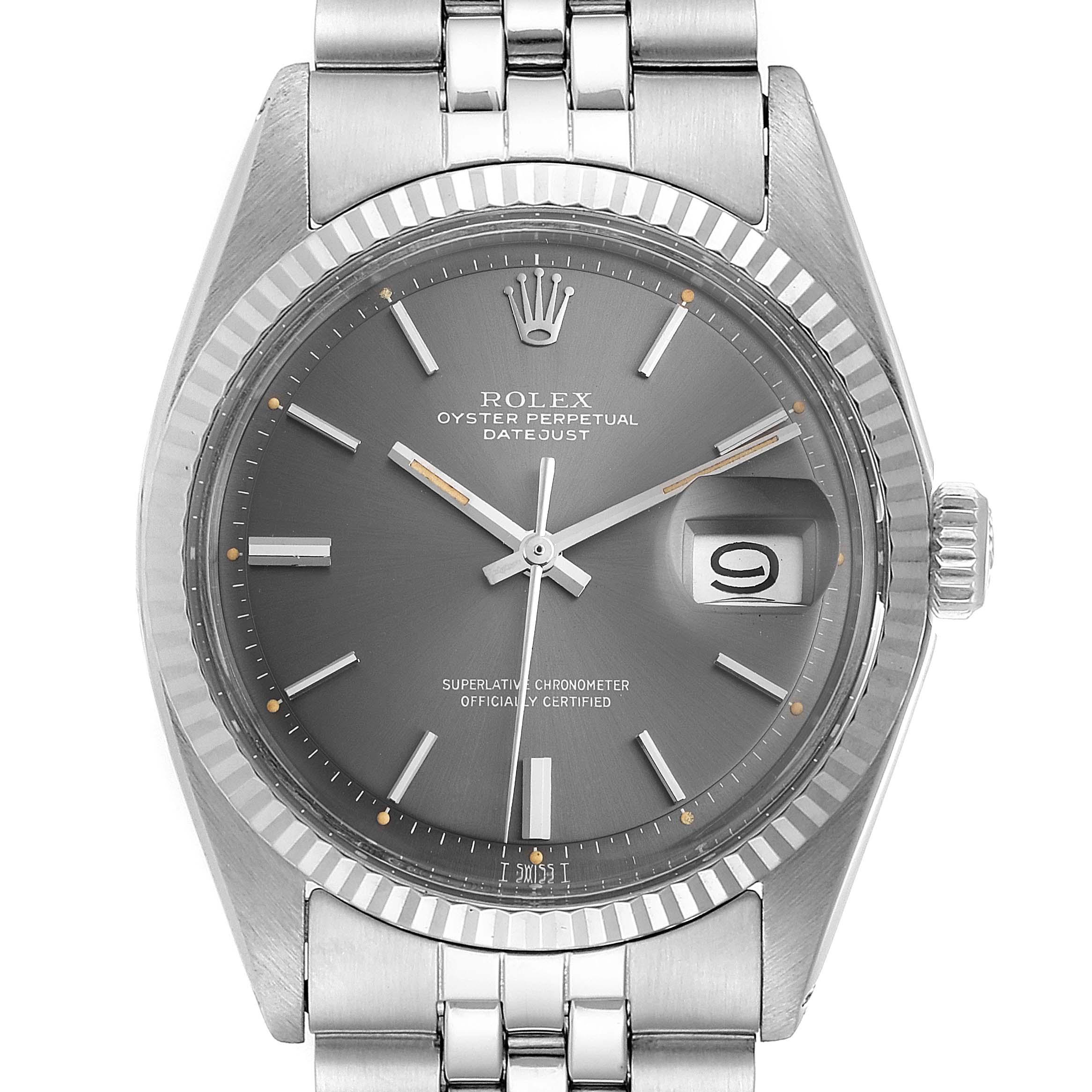 Photo of Rolex Datejust Steel White Gold Grey Dial Vintage Steel Watch 1601