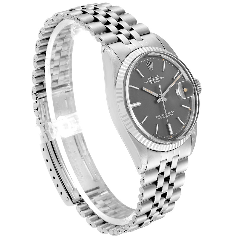 Rolex Datejust Steel White Gold Grey Dial Vintage Steel Watch 1601 SwissWatchExpo