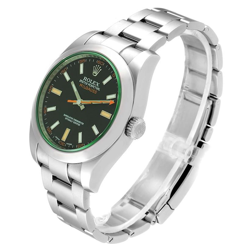 Rolex Milgauss Black Dial Green Crystal Mens Watch 116400GV Box Card SwissWatchExpo