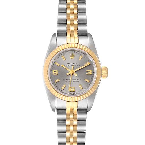 Photo of Rolex Oyster Perpetual Steel Yellow Gold Fluted Bezel Ladies Watch 67193
