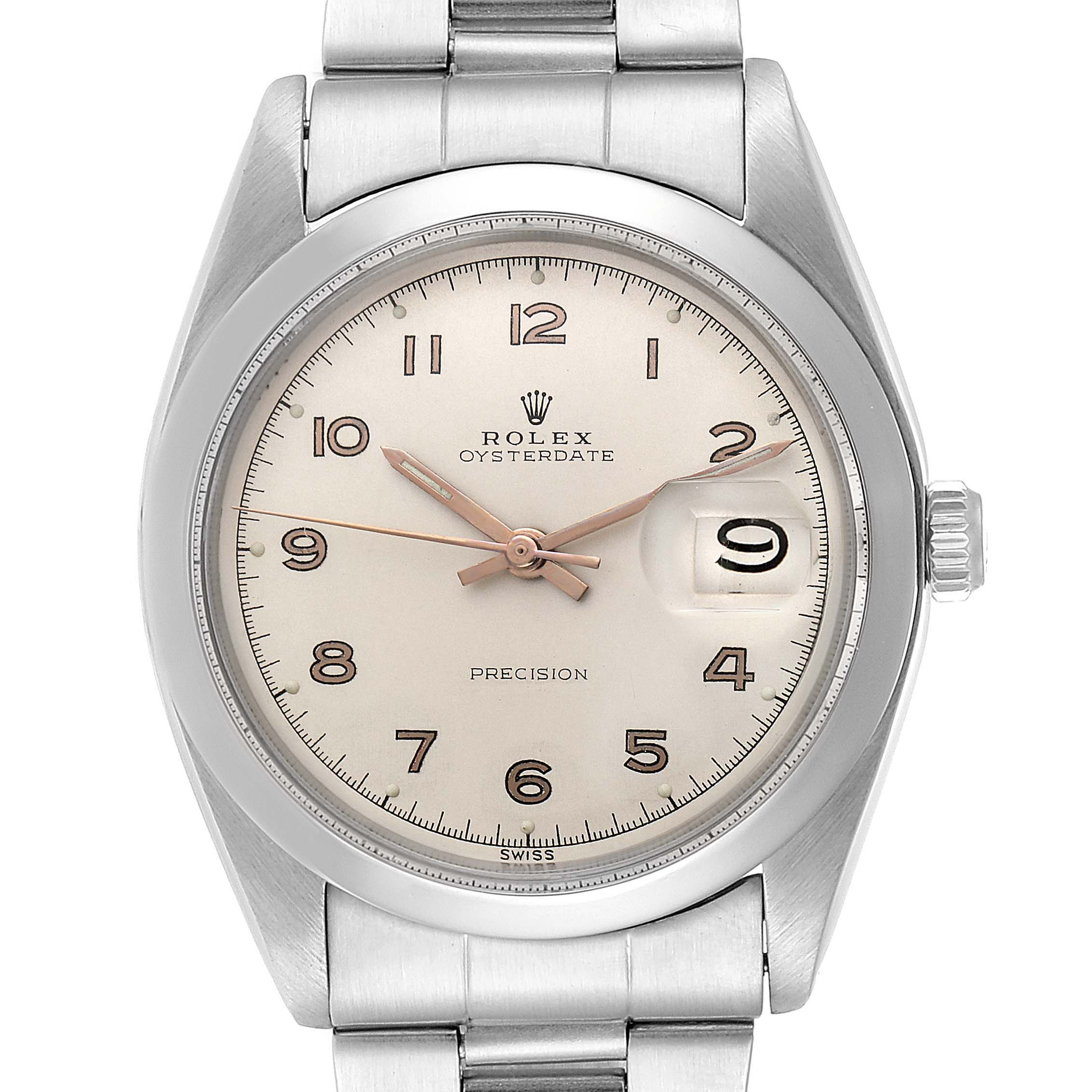 Rolex OysterDate Precision Silver Dial Steel Vintage Mens Watch 6694 SwissWatchExpo