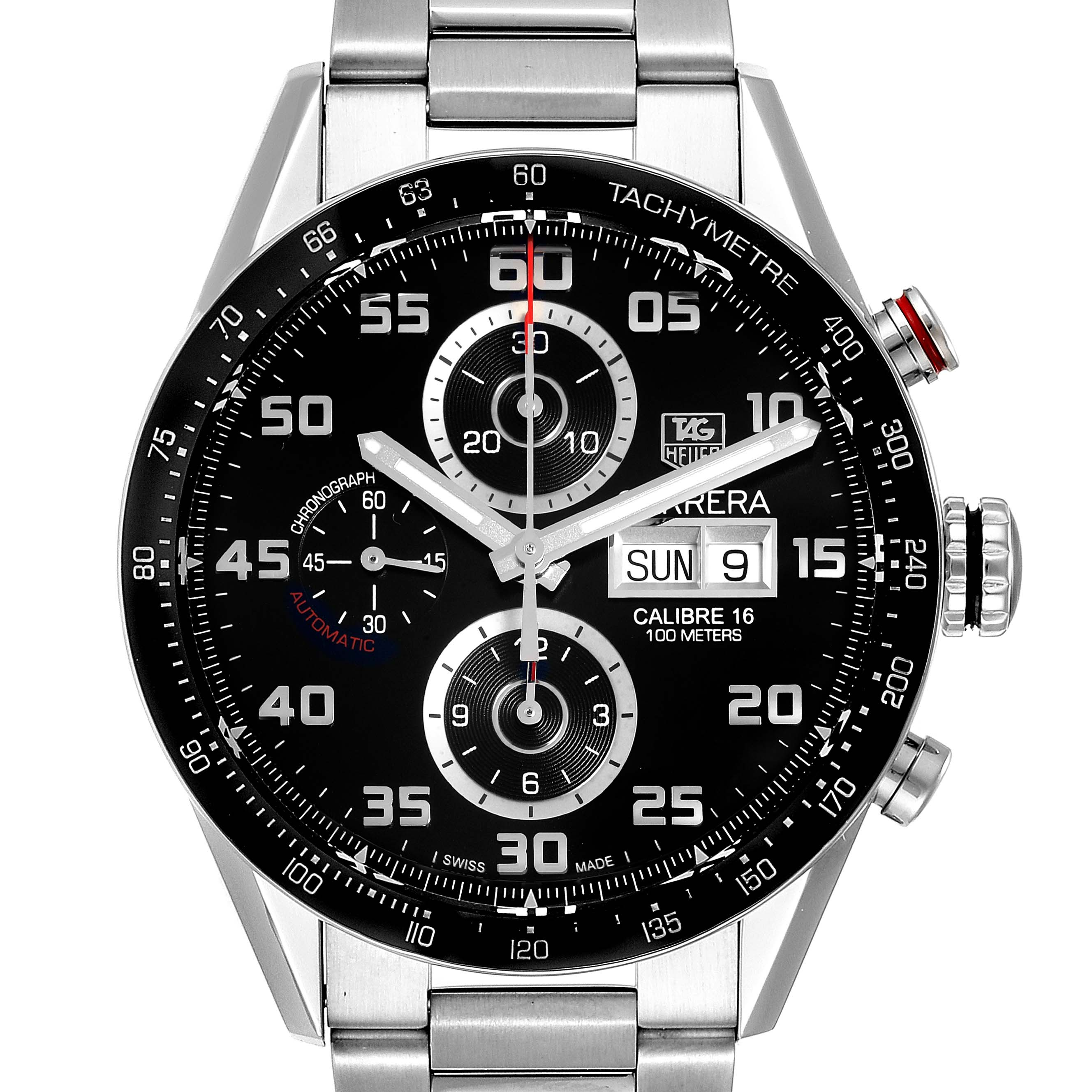 Photo of Tag Heuer Carrera Black Dial Chronograph Steel Mens Watch CV2A1R Box Card