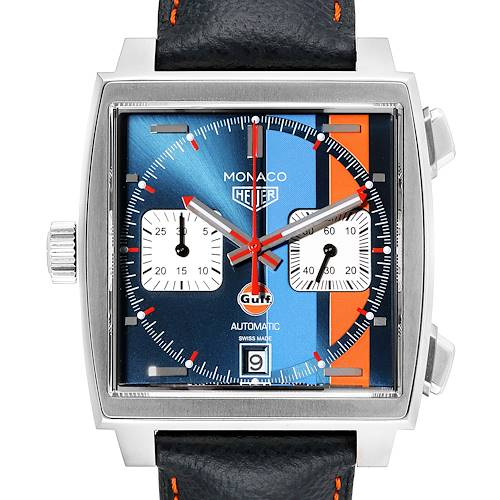 Photo of Tag Heuer Monaco Gulf 2018 Chronograph Mens Watch CAW211R Box Card