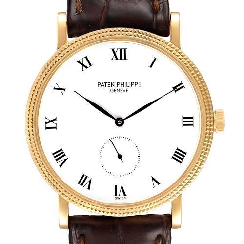Photo of Patek Philippe Calatrava 18k Yellow Gold Brown Strap Mens Watch 3919