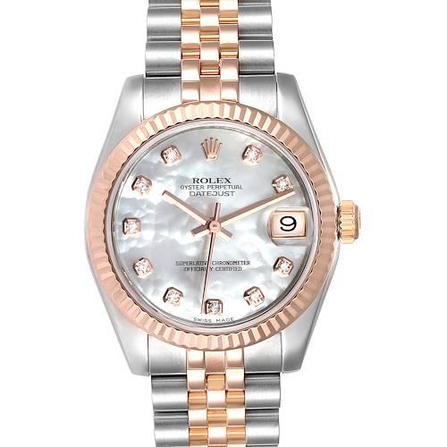 Photo of Rolex Datejust Midsize Steel Rose Gold MOP Diamond Ladies Watch 178271