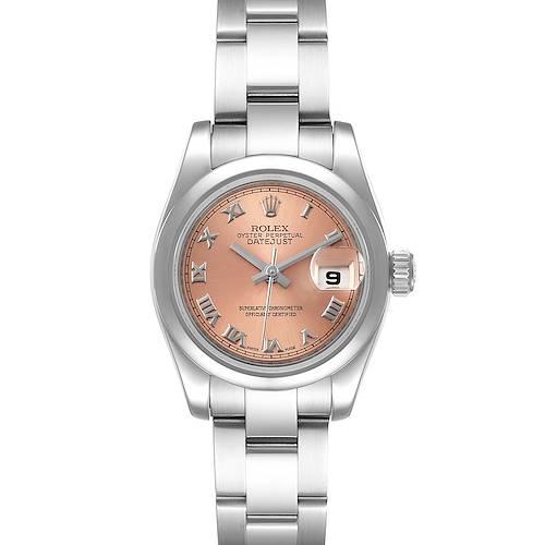 Photo of Rolex Datejust Salmon Roman Dial Steel Ladies Watch 179160 Box Card