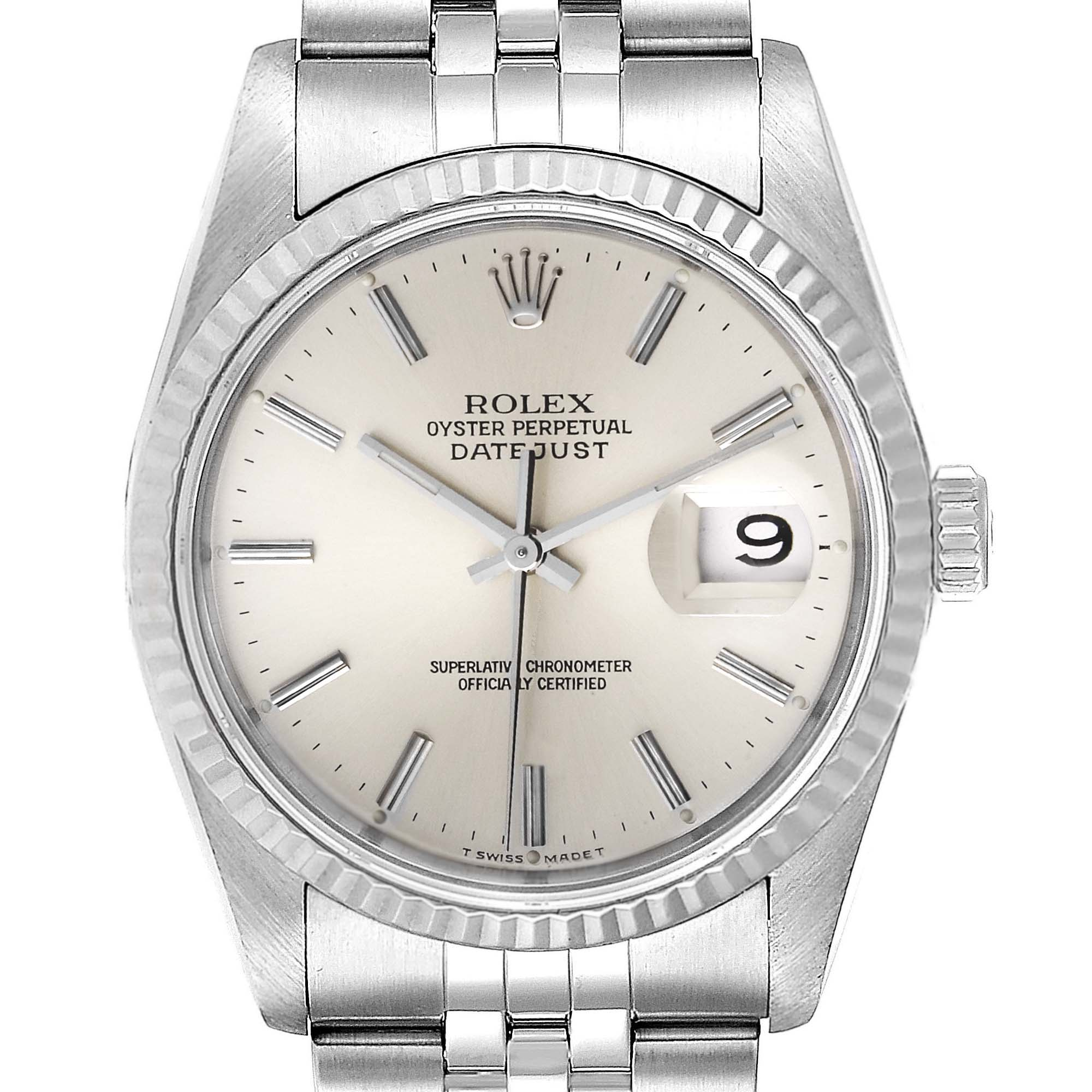 Rolex Datejust Silver Dial Fluted Bezel Steel White Gold Mens Watch 16234 PARTIAL PAYMENT