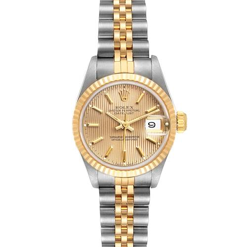 Photo of Rolex Datejust Steel Yellow Gold Tapestry Dial Ladies Watch 69173