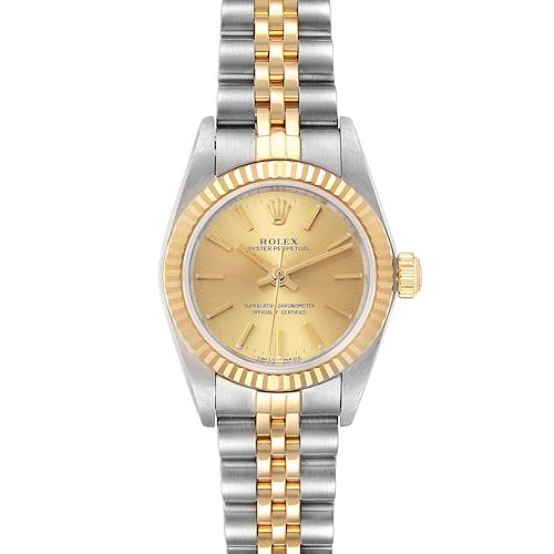Photo of Rolex Oyster Perpetual NonDate Ladies Steel Yellow Gold Watch 76193