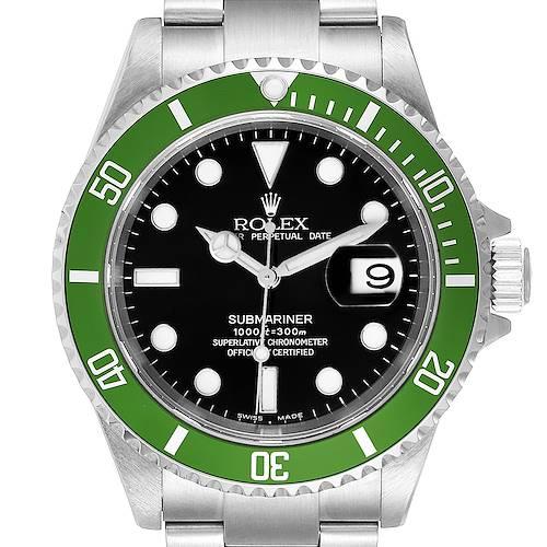 Photo of Rolex Submariner Flat 4 Green 50th Anniversary Mens Watch 16610LV