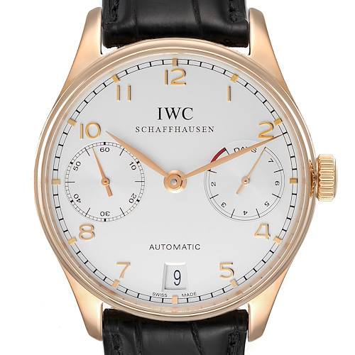 Photo of IWC Portuguese Chrono 7 Day 18k Rose Gold Mens Watch IW500004