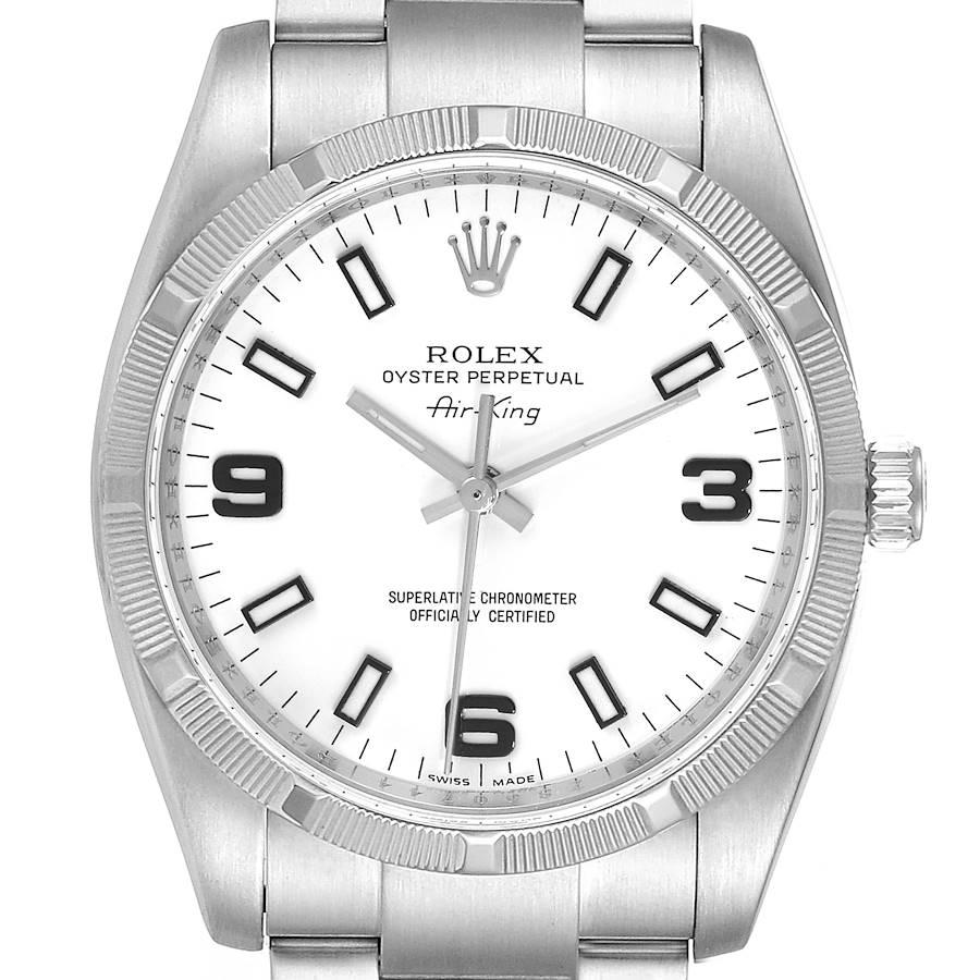 Rolex Air King White Arabic Dial Steel Mens Watch 114210 Box Card SwissWatchExpo