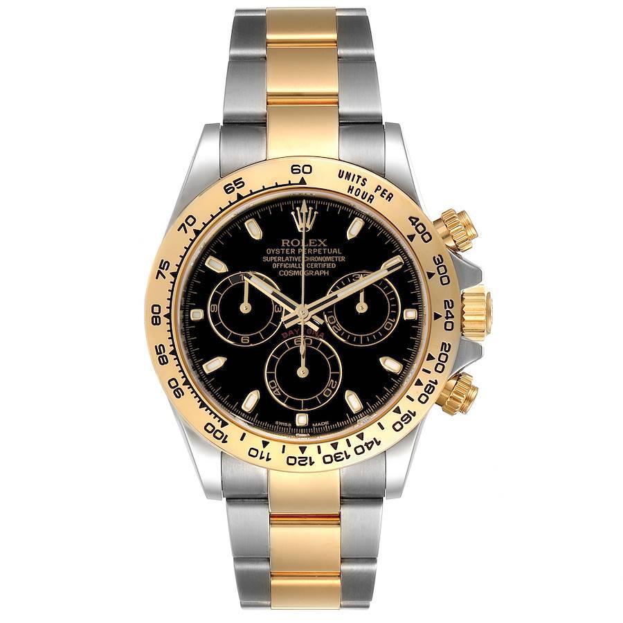 Rolex Cosmograph Daytona Steel Yellow Gold Black Dial Watch 116503 Box Card SwissWatchExpo