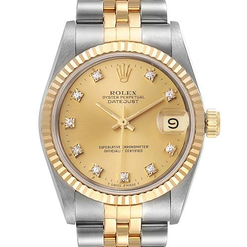 Photo of Rolex Datejust Midsize 31 Steel Yellow Gold Diamond Watch 68273 Box Papers