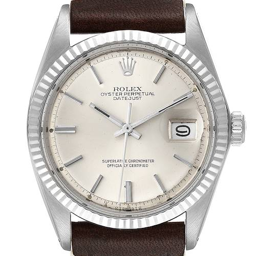 Photo of Rolex Datejust Steel White Gold Silver Dial Vintage Mens Watch 1601