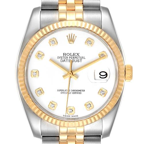 Photo of Rolex Datejust Steel Yellow Gold White Diamond Dial Mens Watch 116233