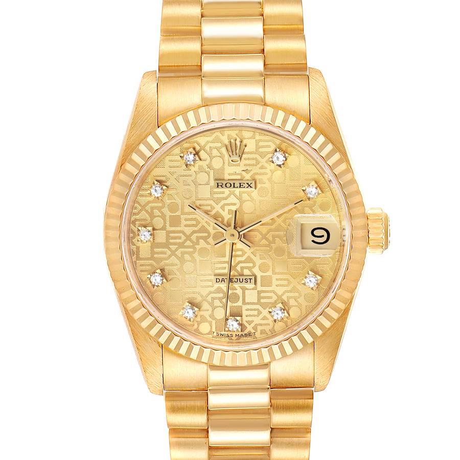 Rolex President Datejust 31 Midsize 18K Gold Diamond Ladies Watch 68278 SwissWatchExpo