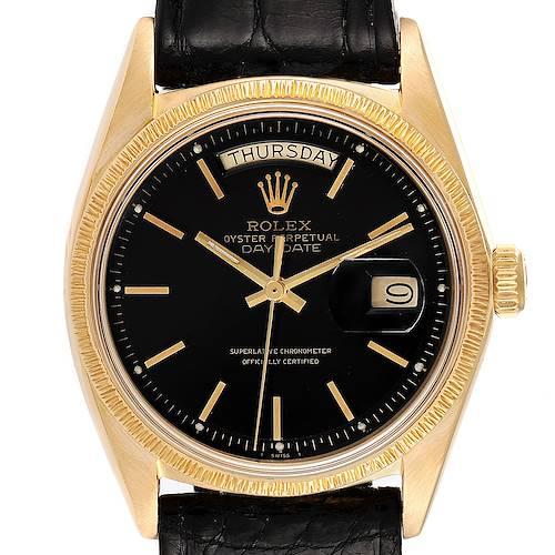 Photo of Rolex President Day-Date Yellow Gold Black Dial Mens Watch 1807