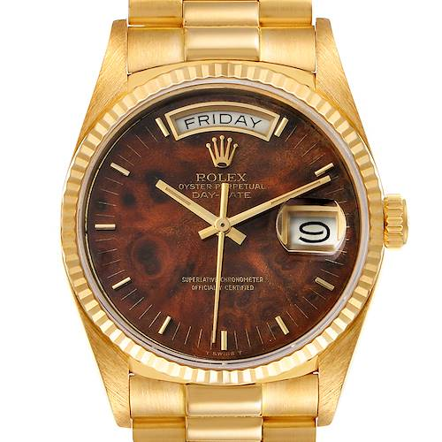 Photo of Rolex President Day-Date Yellow Gold Burl Wood Dial Mens Watch 18038