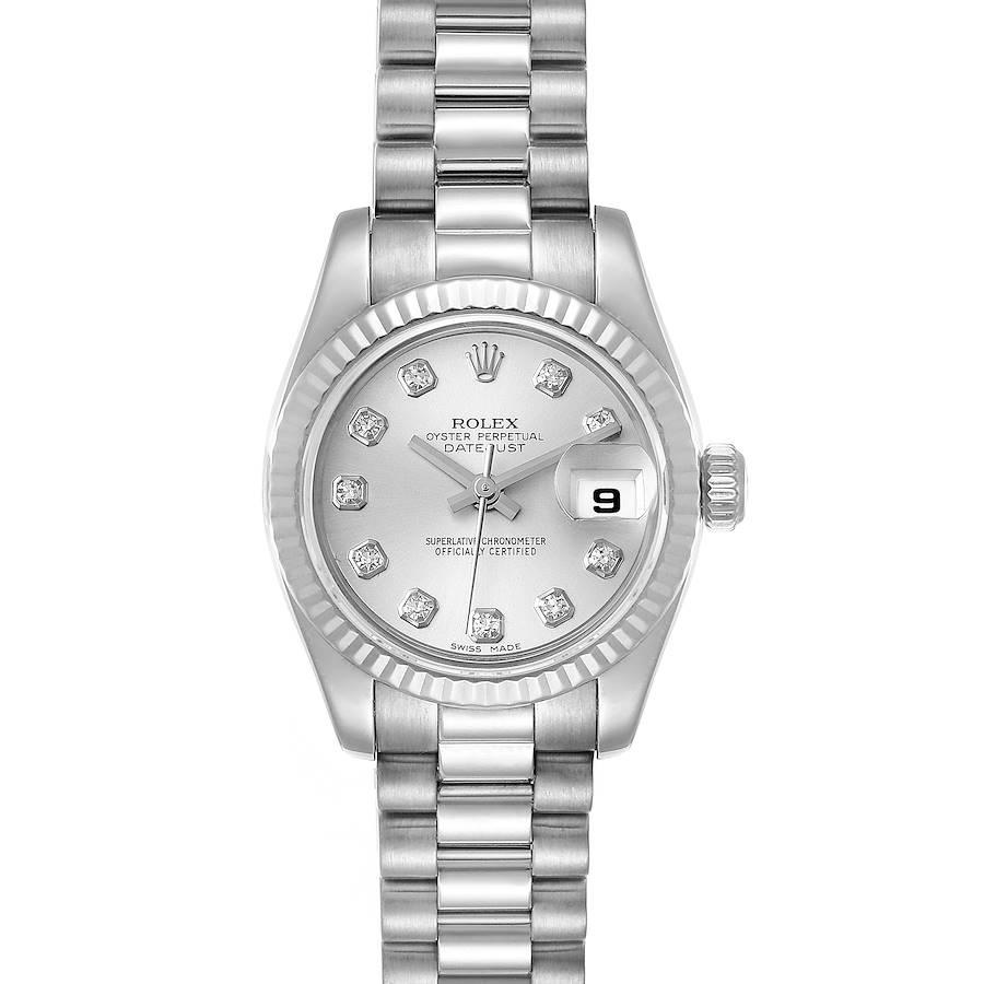 Rolex President Ladies White Gold Diamond Ladies Watch 179179 SwissWatchExpo