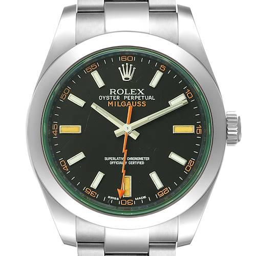 Photo of Rolex Milgauss Black Dial Green Crystal Steel Mens Watch 116400