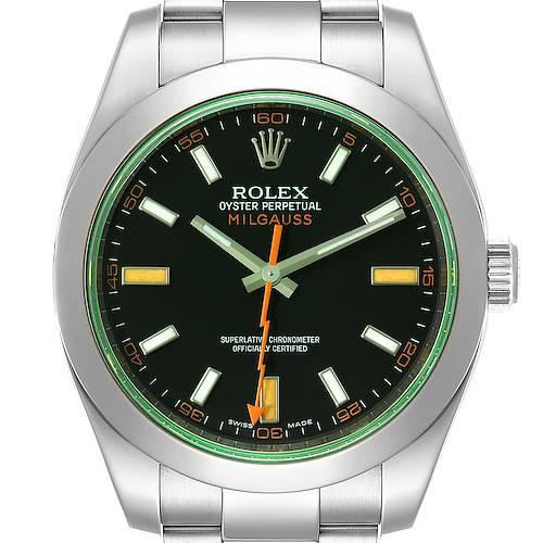 Photo of Rolex Milgauss Black Dial Green Crystal Steel Mens Watch 116400 Box Card