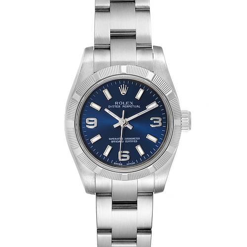 Photo of Rolex Nondate Ladies Blue Dial Oyster Bracelet Ladies Watch 176210 Box Card