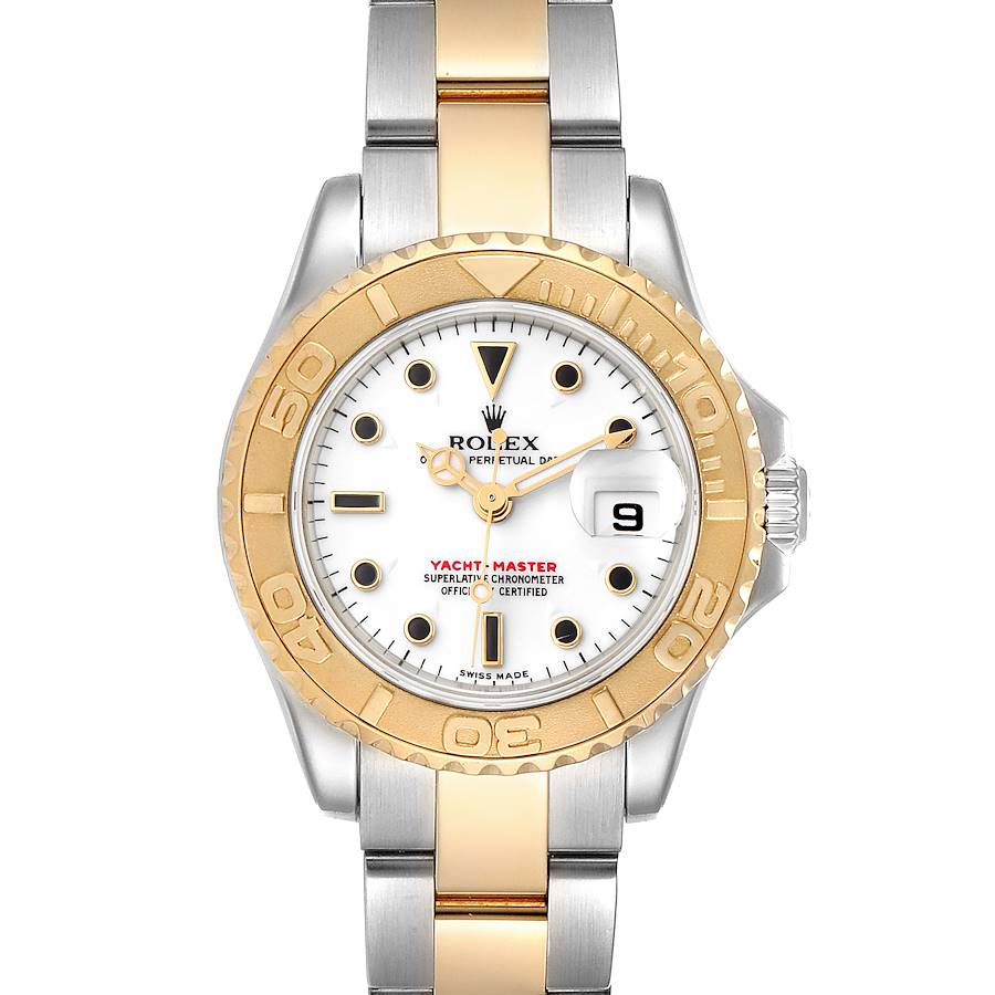 Rolex Yachtmaster 29mm White Dial Steel Yellow Gold Watch 169623 Box Papers SwissWatchExpo