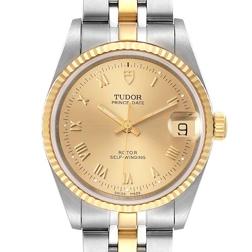 Photo of Tudor Prince Date Steel Yellow Gold Champagne Dial Mens Watch 72033 Unworn