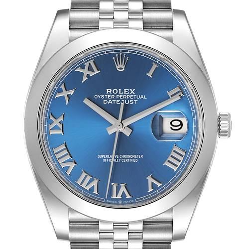 Photo of Rolex Datejust 41 Blue Roman Dial Steel Mens Watch 126300 Card